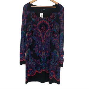 INC International Concepts Black Pattern Dress L